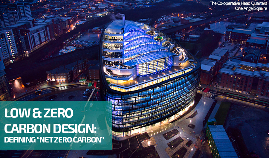 Arial view of the Co-operative Headquarters at One Angel Square in Manchester (UK), showcasing an example of Net Zero Carbon design